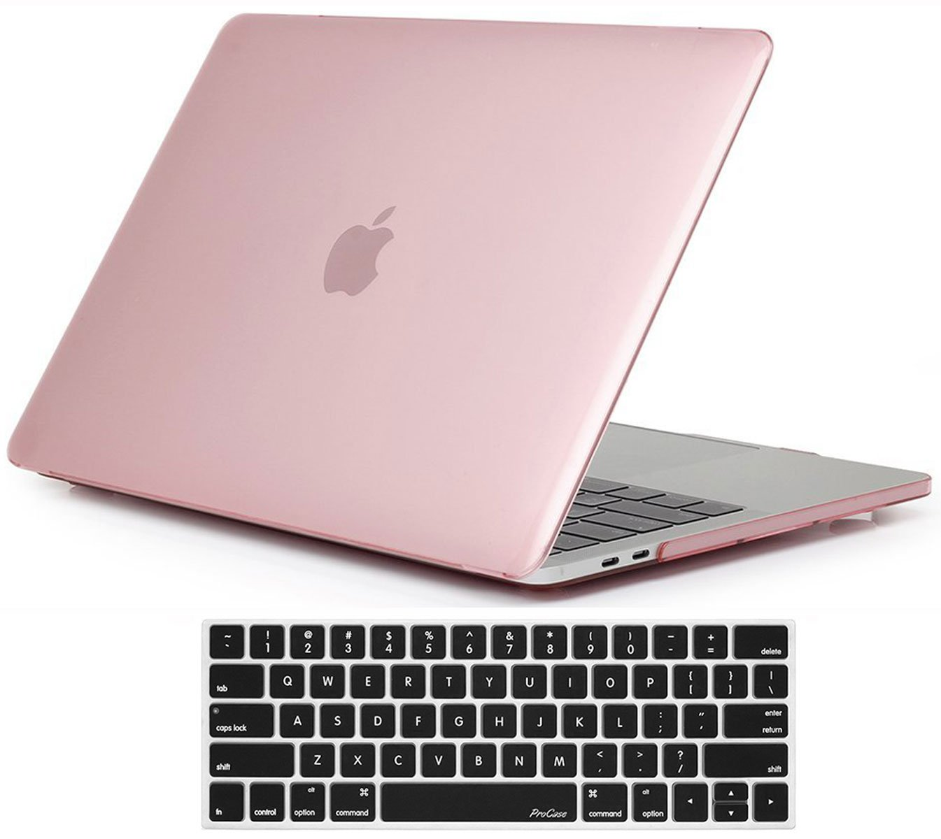 ProCase MacBook Pro 13 Case 2018 2017 2016 Release A1989 A1706 A1708, Hard Case Shell Cover and Keyboard Skin Cover for Apple MacBook Pro 13 Inch with/Without Touch Bar and Touch ID -Clear Pink
