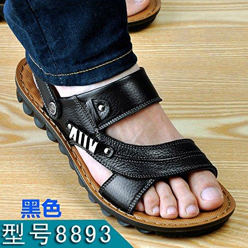 Xing Lin Sandalias De Hombre Verano Sandalias De Hombres Hombres Playa Ocio Antideslizante Shoes Sandalias De Cuero Sandalias De Cuero Transpirable Y Zapatillas black