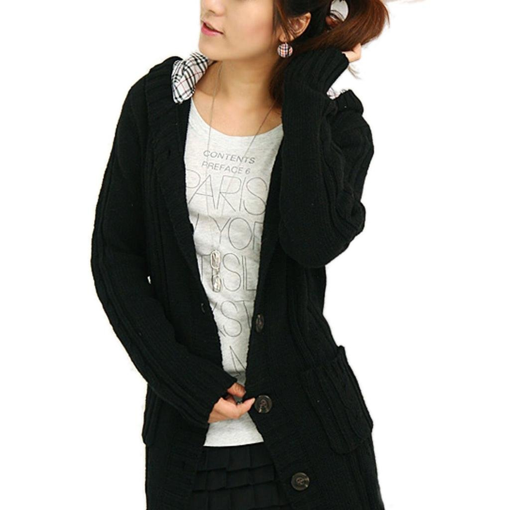 2537b51cbe Minetom Womens Cable Knitted Womens Grandpa Sweater With Button Long Arm  Hooded Black  Amazon.ca  Clothing   Accessories