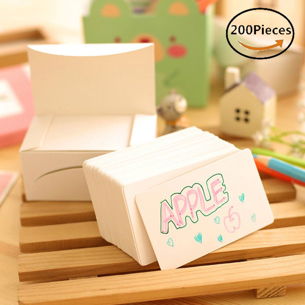 Note Card Greeting Kraft Paper Card Message Memo Wedding Gift Thank You Cards Label Bookmarks Blank Kraft Name Card Word card,pack of 200 pieces,9*5.3cm|3.54*2inch (White) Glodenbridge