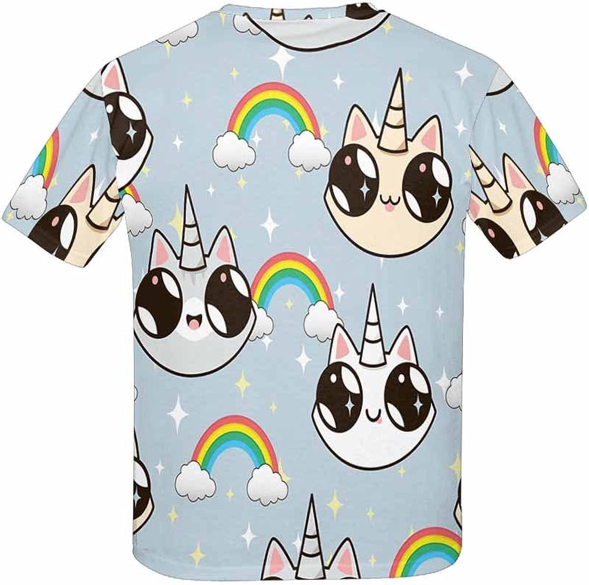 INTERESTPRINT Kids T-Shirt Cats Unicorns and A Rainbow XS-XL