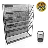 Metal Wall File Holder - Black Metal Mesh - 6 File Compartment - Free Matching Metal Pencil Holder - Literature Organizer for Home or Office - TheRockyWay