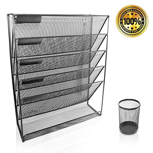 Uwin Mesh Hanging File Organizer- Storage for folders and Paper - 6 Mount Folder for Files - Metal Pencil Holder Box - Desktop Organizer for Home Office and Cubicle-Home Decorations for Storage (Wide Rack Magazine Top)