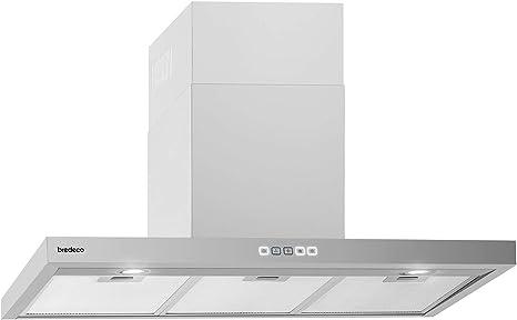 bredeco Campana De Pared Para Cocina BCCH-200A-60S (Plateada, LED 2 x 2 W, Nivel de ruido de 70 dB, 636,5 m³/h, 90 cm, Pantalla táctil): Amazon.es: Grandes electrodomésticos