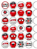 24x Red Nose Day 2017 Mix 1.5 (3.8cm) PRE- CUT PREMIUM RICE PAPER Edible Cake Toppers