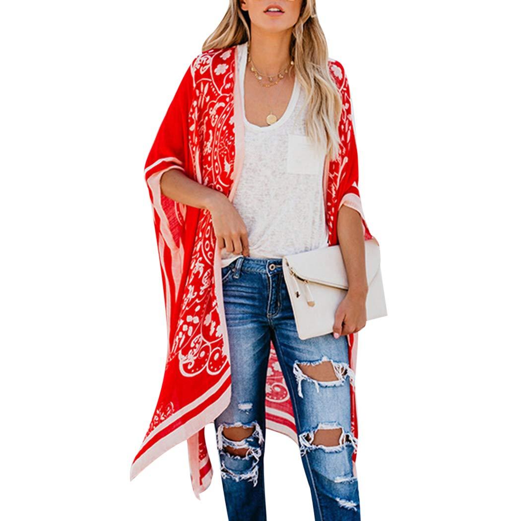 FUNOC Womens Kimono Cardigan Boho Beach Chiffon Shawl Cover up Long Coat Blouse 1036311158742