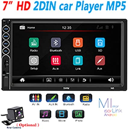 Elerose Car radio player 7-inch car stereo radio Bluetooth audio receiver HD touch screen video player Reversing display