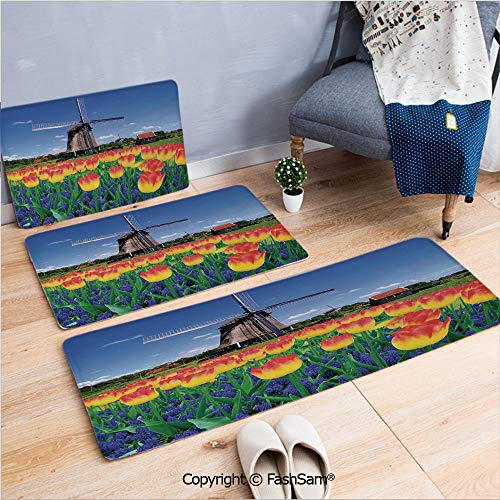 (FashSam 3 Piece Flannel Bath Carpet Non Slip Tulip Blooms with Classic Dutch Windmill Netherlands Countryside Spring Picture Front Door Mats Rugs for Home(W15.7xL23.6 by W19.6xL31.5 by W17.7xL53))