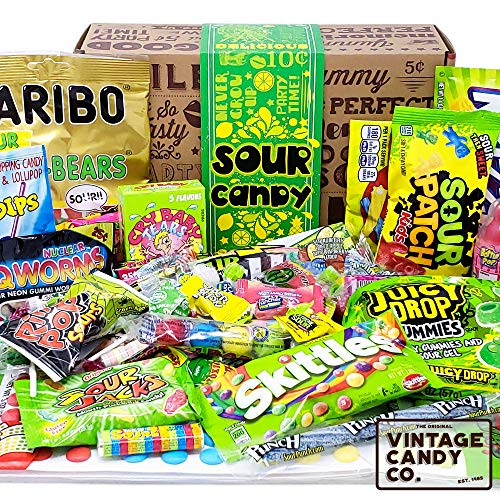 (VINTAGE CANDY CO. SOUR CANDY ASSORTMENT GIFT BOX - Best Candy Variety Mix Care Package - Unique & Fun Gag Gift Basket - PERFECT For Man Or Woman Who LOVES SOUR Candy )
