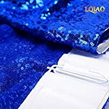 LQIAO Royal Blue Sequin Curtain 96in Sparkly Sequin