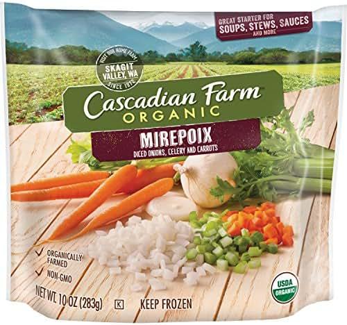 Cascadian Farm Organic Mirepoix (Onions, Celery, Carrots), 10oz Bag (Frozen), Organically Farmed Frozen Vegetables, Non-GMO