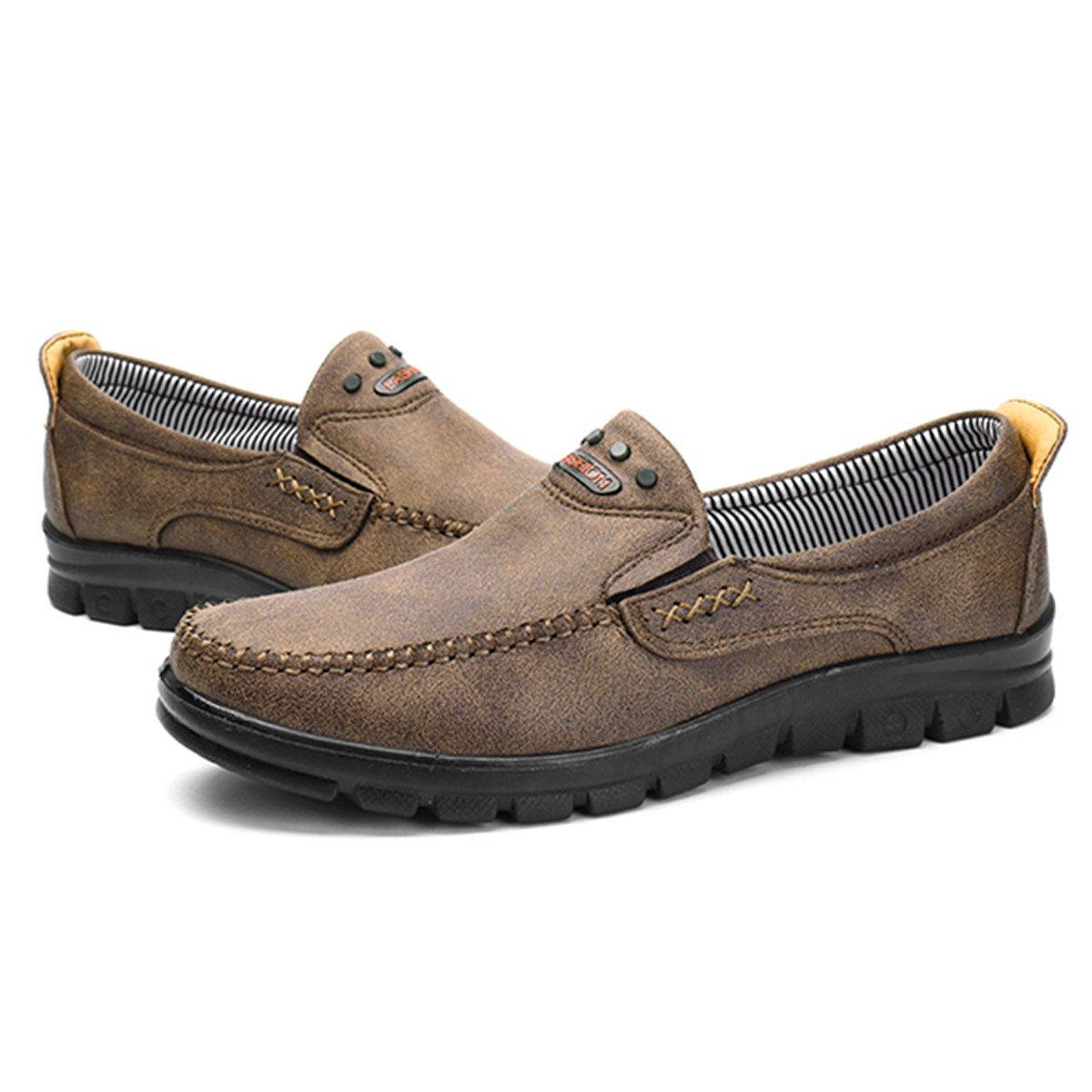 Gracosy Herren beiläufige Slip-on Müßiggänger Schuhe, Lether Flache Freizeitschuhe Müßiggänger Slip-on Beiläufige gehende Fahrschuhe Rutschfeste Passende Turnschuhe Komfort Leichte Müßiggänger Büro Stiefel Sneakers Grün 464de8