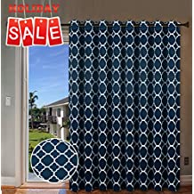 """Wide Width Thermal Insulated Blackout Curtain for Patio and Glass Door - Grommet Top Room Divider Curtain - Moroccan Tile Quatrefoil Pattern in Navy - 100"""" W x 84"""" L"""