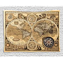 Ambesonne Wanderlust Decor Tapestry, Old Map (1626) A New And Accvrat Map Of The Old Era World Historical Manuscript, Wall Hanging for Bedroom Living Room Dorm, 80 W X 60 L, Sand and Light Brown