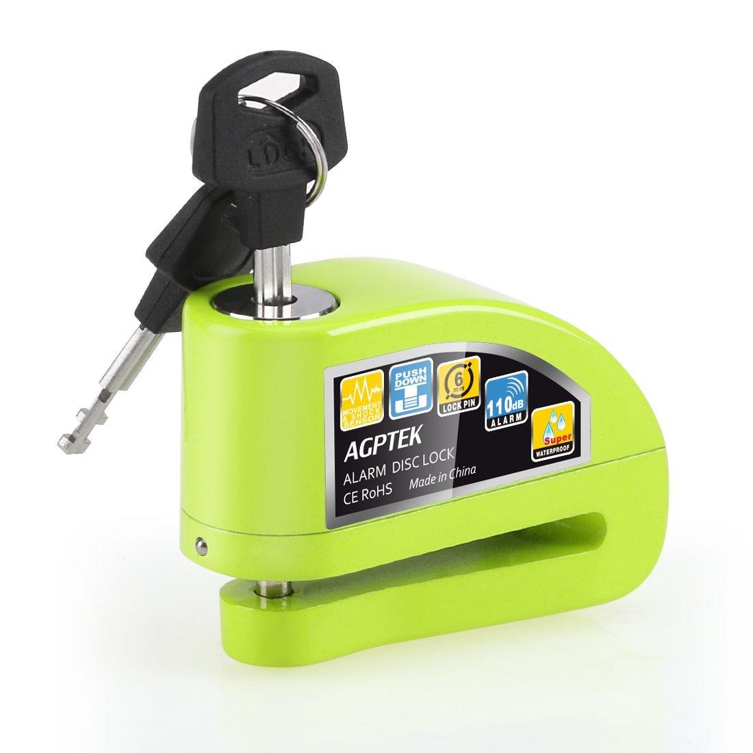 AGPTEK Moto Antivol d'Alarme Serrure Intelligent Haute Compatibilité de Voiture Bloque Disque d'Alarme en Alliage d'Aluminium pour Moto, Vélo, VTT Scooter-S5B Vert product image