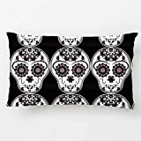 LDJ Cotton Polyester Chair Throw Pillow Case Decorative Cushion Cover Pillowcase Design With Cute Halloween Colors Day Of The Dead Sugar Skull Custom Pillow Cover Print Double Side Sized 12X20 Inches