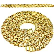 """Mens Iced Out Hip Hop Gold tone CZ Miami Cuban Link Chain 8"""", 9"""", 20"""", 24"""", 30"""", 36"""" Necklace Bracelet"""