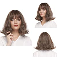 FORCUTEU Pastel Wavy Short Bob Wig with Air Bangs Natural Looking Blonde Mix Brown Wig Synthetic Shoulder Length Wigs Heat Resistant Fiber Hair for Girls