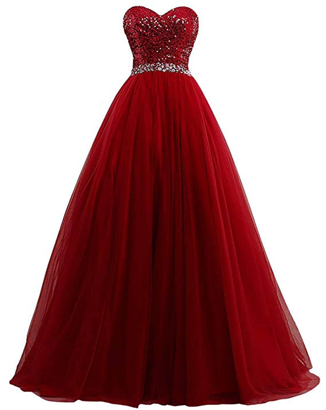 Burgundy olise bridal Sexy Sweetheart Women's A Line Long Prom Dresses Sequin Party Formal Dresses Ball Gowns