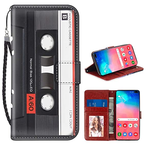 PandaOffice Samsung Galaxy S10 Plus S10+ Wallet Case Cassettes Card Holder Slots Wrist Strap Faux Leather
