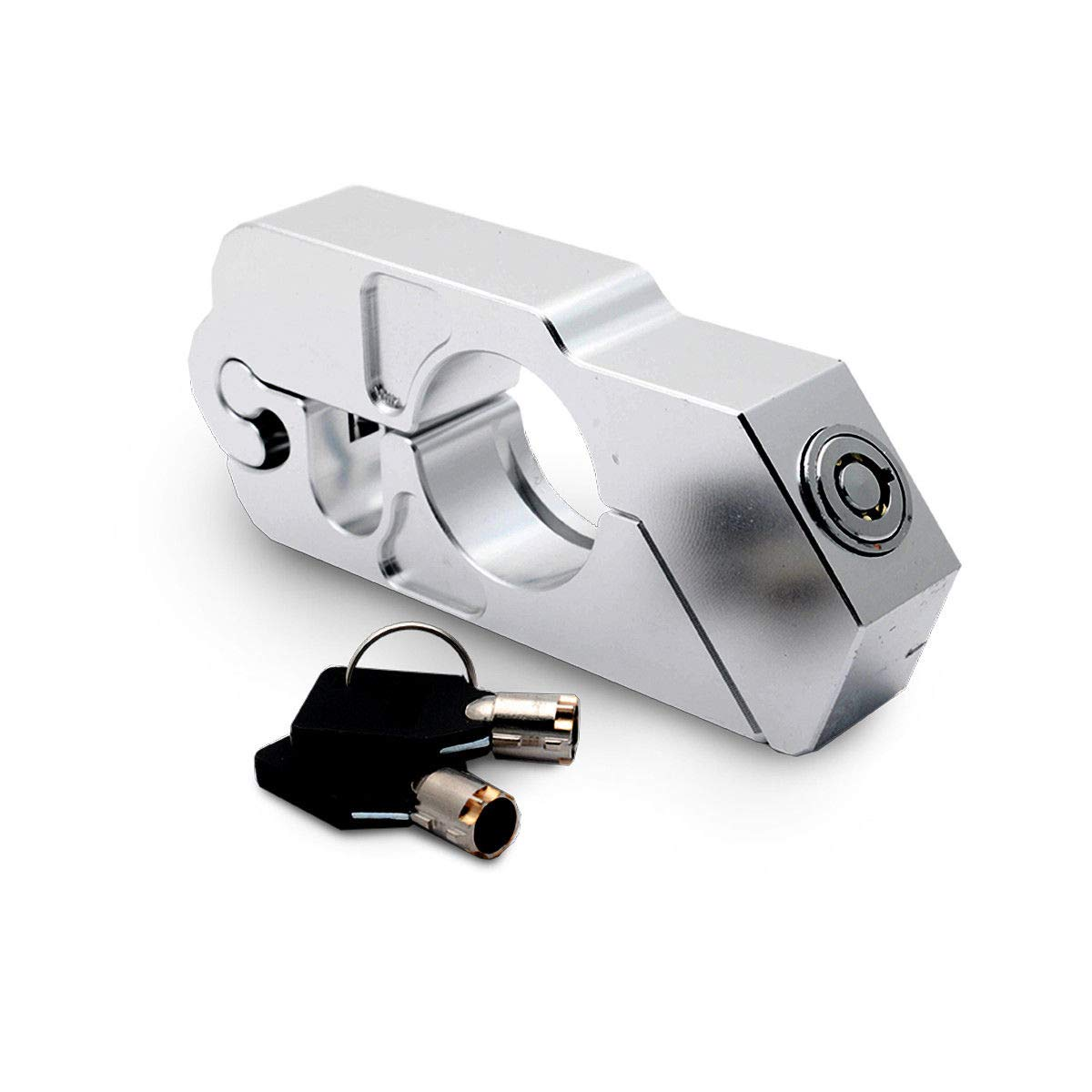 Soosee Motorcycle Lock - Universal  alloy CNC Motorcycle Handle Throttle Grip Security Lock with 2 Keys to Secure a Bike, Scooter, Moped or ATV in Under 5 Seconds(Silver)