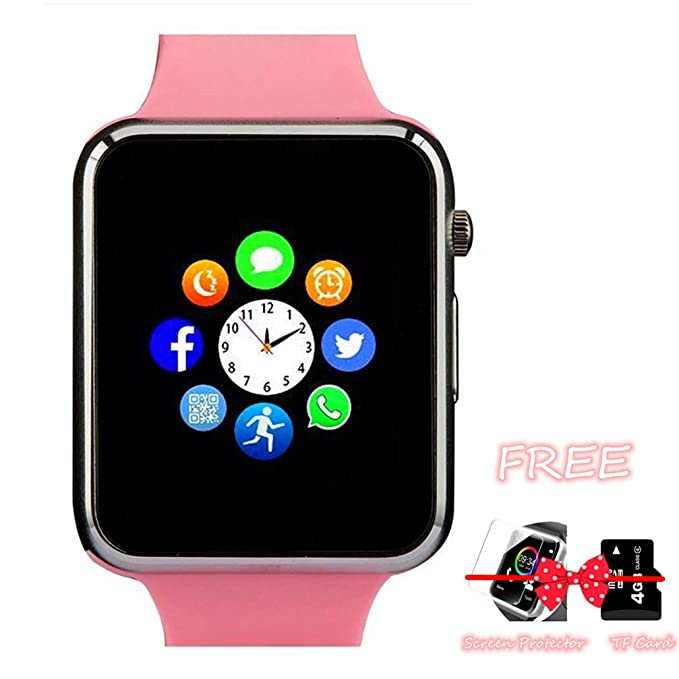 Smart Watch Phone, Smartwatch with Camera TF Card Pedometer SIM Card Slot  Music Player Compatible for iOS iPhone (Partial Functions) and Android  Phone