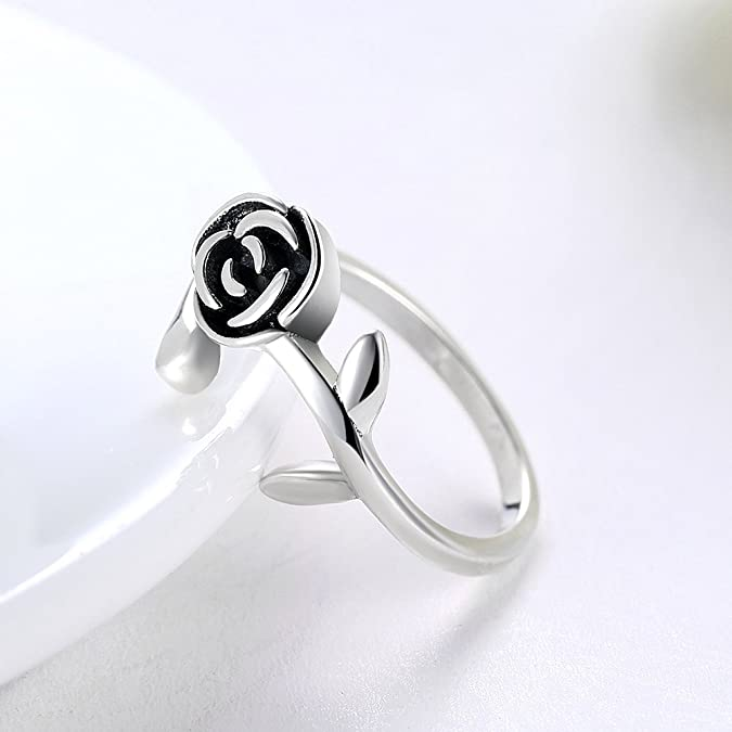 HCBYJ Lady ring Finger Ring Beautiful Blue Crystal Stone Jewelry Wedding Romantic Heart Shaped Silver Ring Female S925