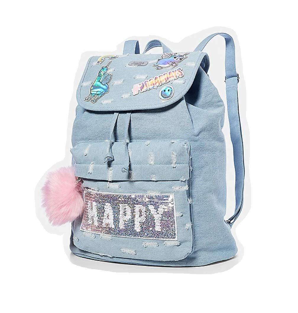 caa30f7fc968 Justice Backpack Rucksack Flip Sequin Happy Smile Denim