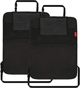 """Dear Auto Car Back Seat Organizer - 2 Pack - Premium Quality Car Kick Mats with 10"""" Tablet Holder - Extra Large Pocket-ECO Friendly Raw Materials- Hard PP Board on top"""