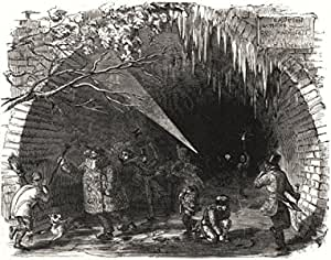 LONDON Ice Skating in the Regents Canal Tunnel Antique Print 1855