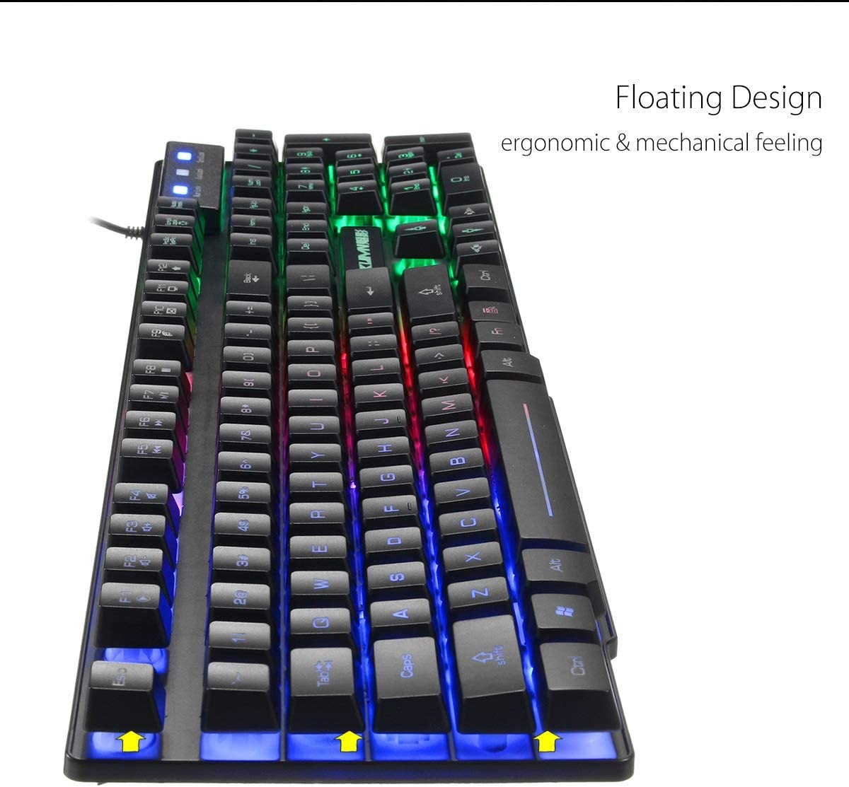 Black QINRUIKUANGSHAN Illuminated Keyboard and Mouse Set Computer Game Dedicated Keyboard Color : White Mechanical Feel White