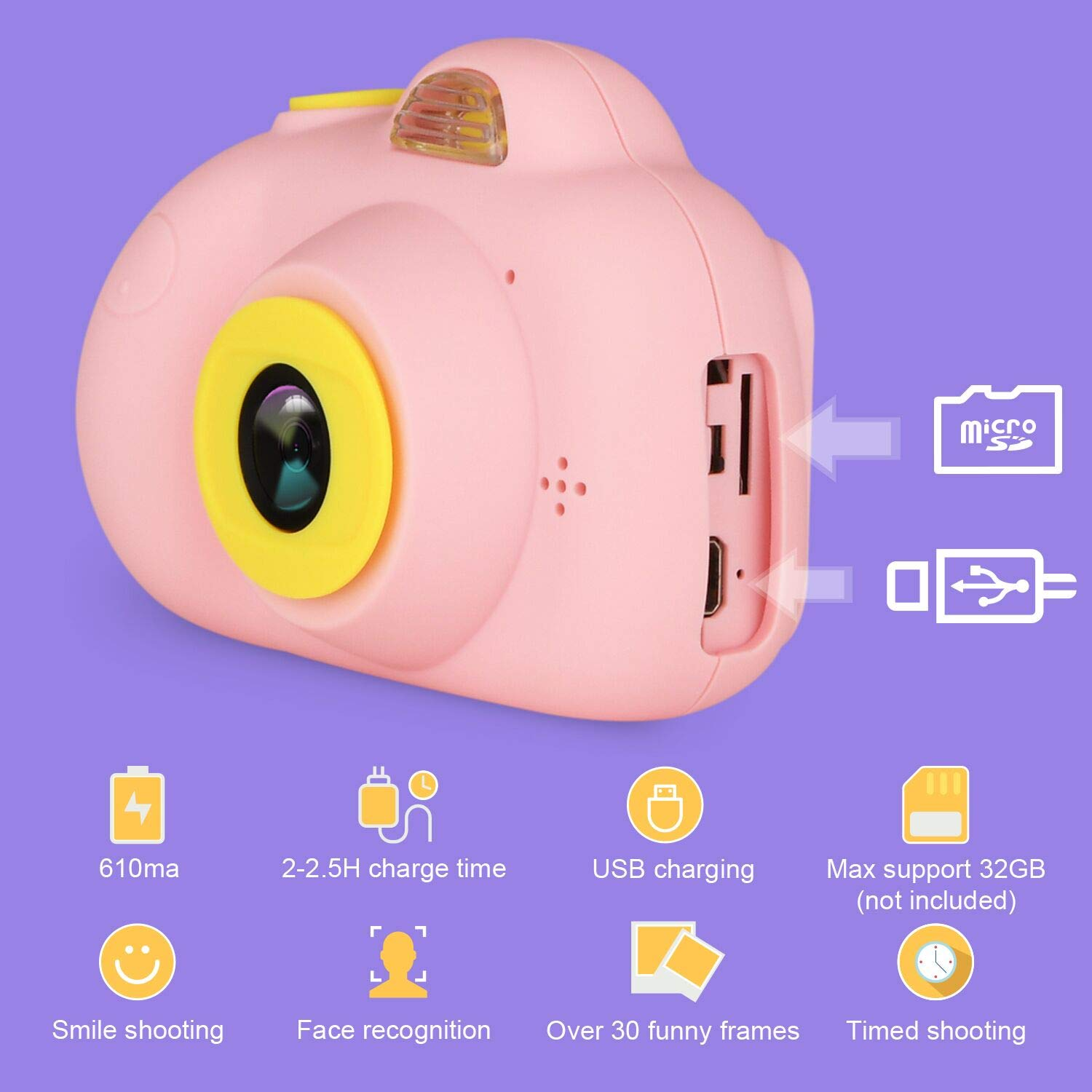 eyesen Kids Camera for 3-10 Year Old Children 1080P HD Rechargeable Digital Child Camcorder Shockproof Selfie Mini Camera with Soft Silicone Shell and 2 Inch Screen for Kids, Pink by eyesen (Image #1)