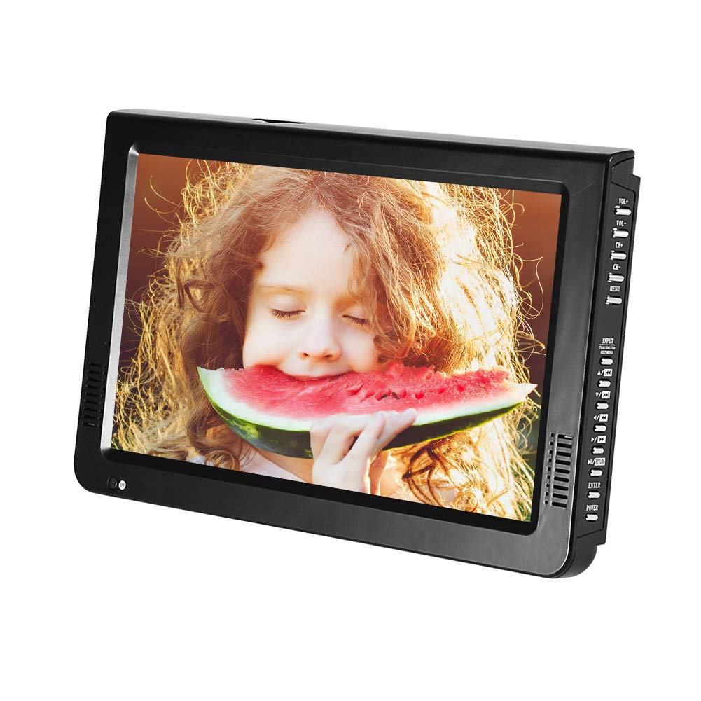 10 inch Portable TV, ATSC Digital Television 16:9 TFT LED 1080P HDMI Video Player with USB/TF Card Slot Built-in Rechargeable Battery for Home Car Outdoor Travel