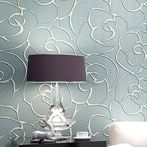 QIHANG Modern Minimalist Embossed 3D Rose Flower Non-woven Wallpaper Light Blue Color 0.53m10m=5.3