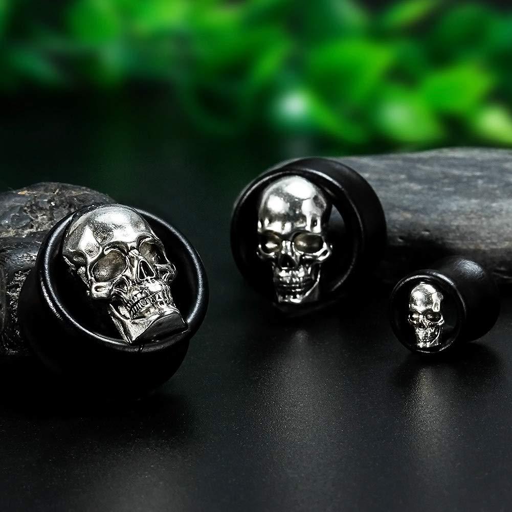 1 inch TBOSEN 2 or 4 pcs Antiqued Skull Wood Double Flared Ear Plug Saddle Organic Black Areng Flesh Tunnels Gauges 0g