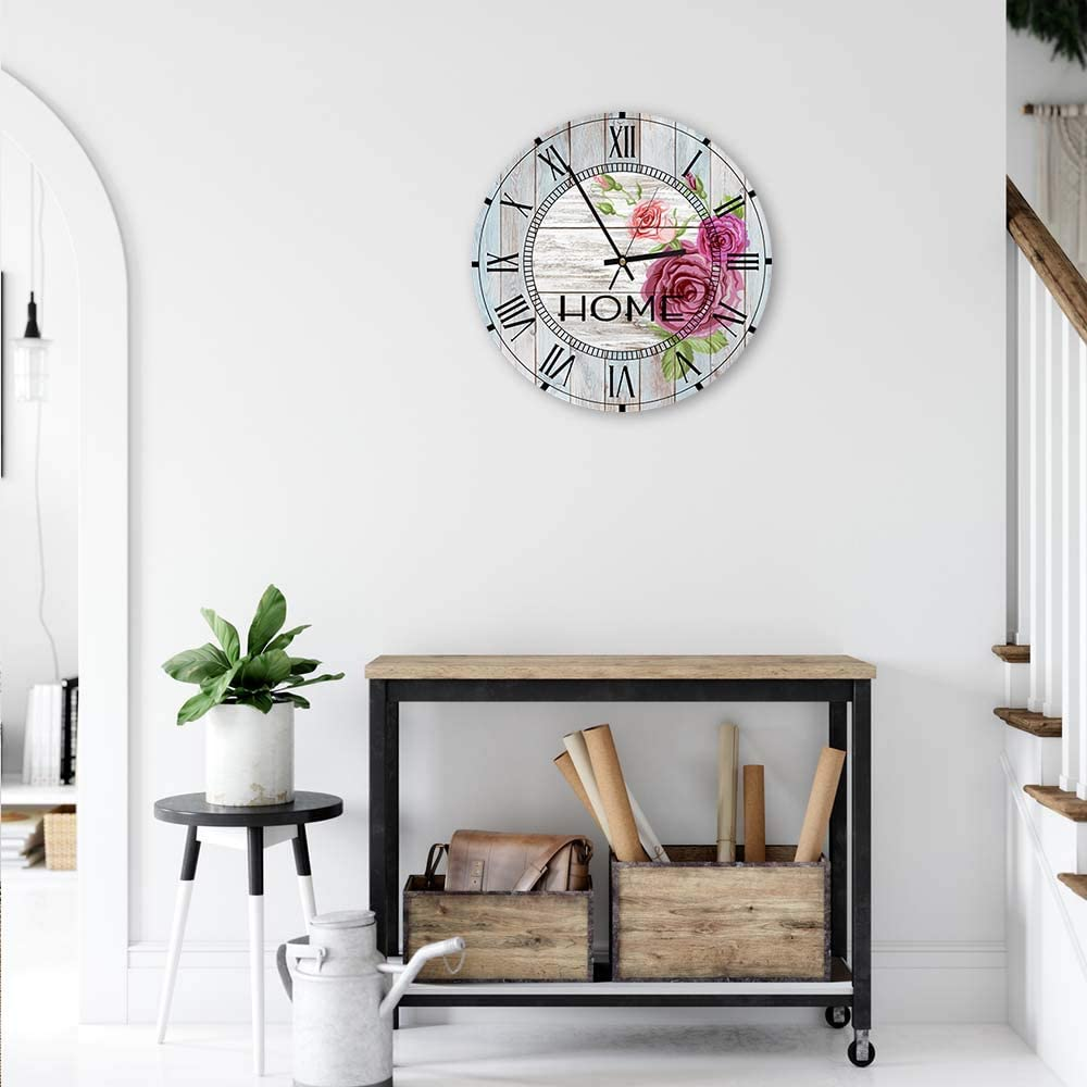Feeby Horloge d/éco Ronde Murale Citation Shabby Chic Blanc 40 cm
