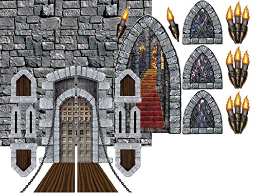 Beistle Medieval Castle Party Decorations – Door, Window, Stairway, Torch, and Wall Backdrop (Medieval Party Decorations)
