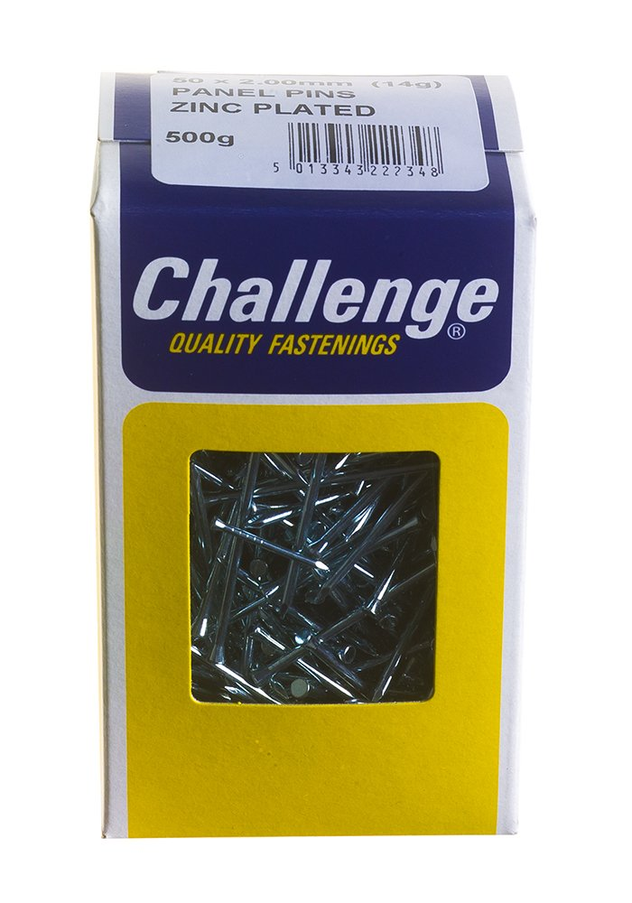 Challenge 50 x 2.00mm 500g Zinc Plated Panel Pins Frank Shaw 22234
