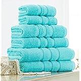 Luxury 100% Cotton Natural Soft Stripe Towels (Aqua, Bath Towel 70x120)