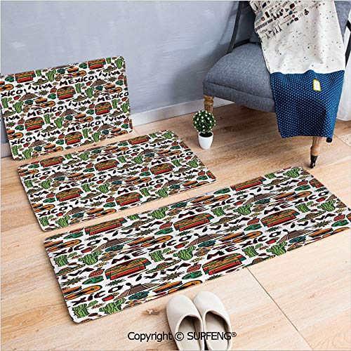 - FashSam Doormat Runner Carpet Set Mexican Decorations,Viva Mexico with Native Elements Poncho Tequila Salsa Hot Peppers Image,Multi Microfiber