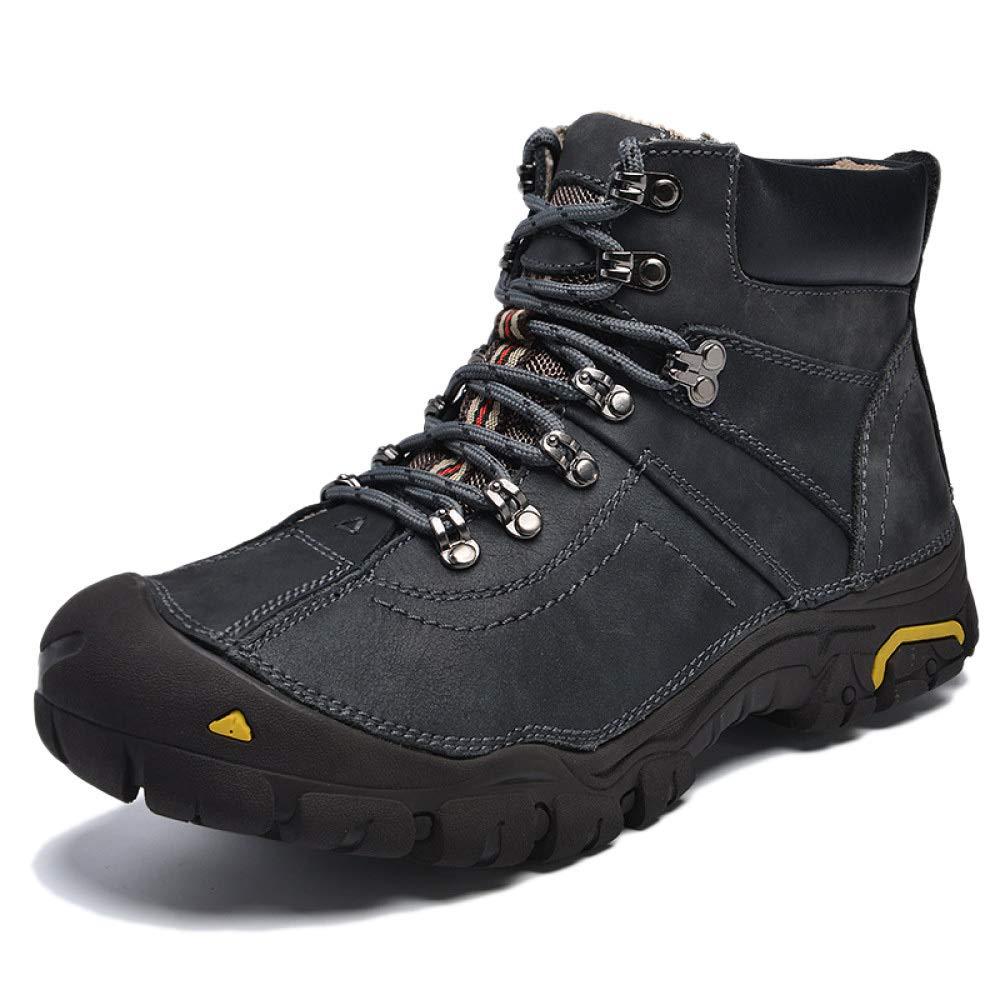 DZX Herren Winter Outdoor Wanderschuhe/Wasserdichte Stiefel, Walking Lace Up Rutschfeste Atmungsaktive Trekkingschuhe,Darkgrau-41