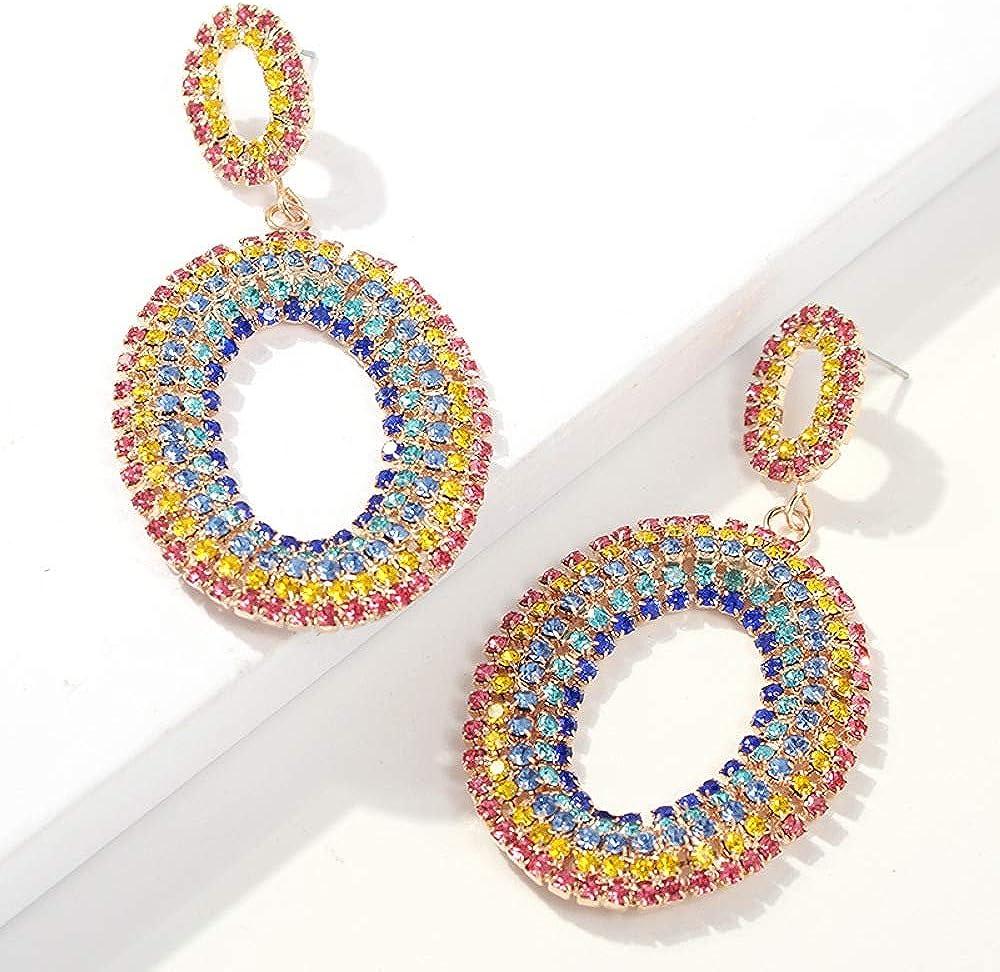 Pendientes personalizados de tiro callejero europeo y americano, diamantes de borla de aleación de moda, piedras preciosas, pendientes largos exagerados de mujer