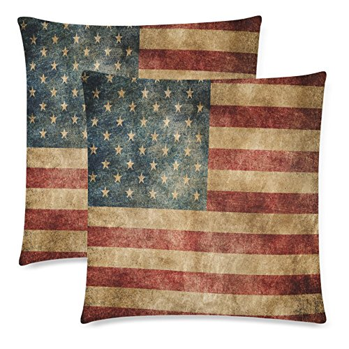 InterestPrint Vintage USA American Flag Pillowcase Pillow