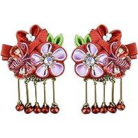 Toyvian Barrette Pinza de Pelo Moda Japonés Kimono Flor Cabello Tie Band Clip Accesorio para el Cabello (Rojo)
