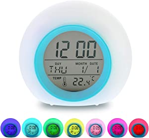 Litthing LED Alarm Clock for Kids 7 Colors Changing Light Multifunctional Digital Wake Up Clock with 6 Nature Sounds Temperature Calendar Timing Snooze for Children's Bedrooms