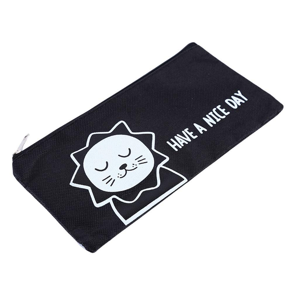 KISSFRIDAY Cute canvas office supplies storage bag cartoon large capacity bag(style 1) by KISSFRIDAY (Image #2)