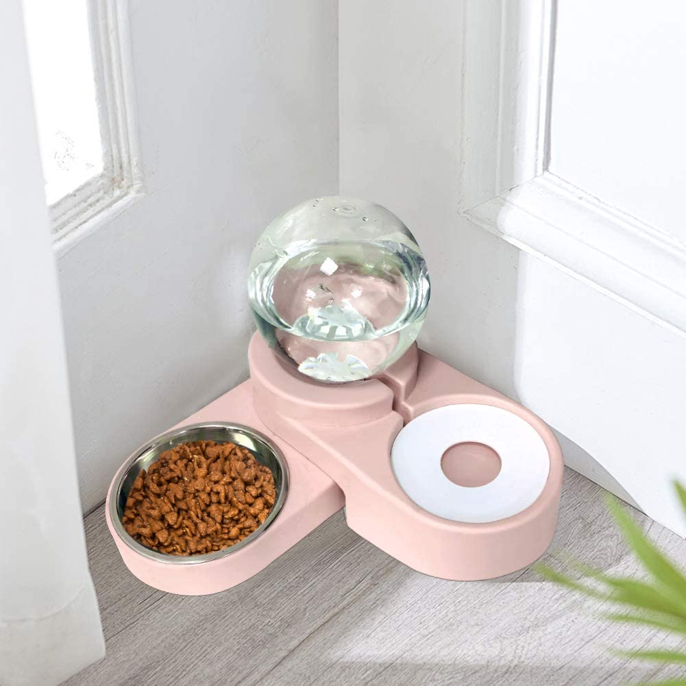 SAVFOX 2 in1 Automatic Water Dispenser Pet Bowls Set, Durable & Detachable Stainless Steel Feeder Bowl, No-Spill Dog Water Bottle & Dish for Cats & Dogs