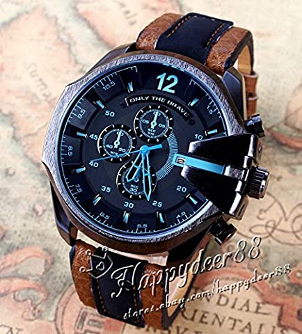 Luxury Men's Watch Analog Sport Steel Case Quartz Dial Leather Wrist Watch Gift (Fossil Limited Edition)