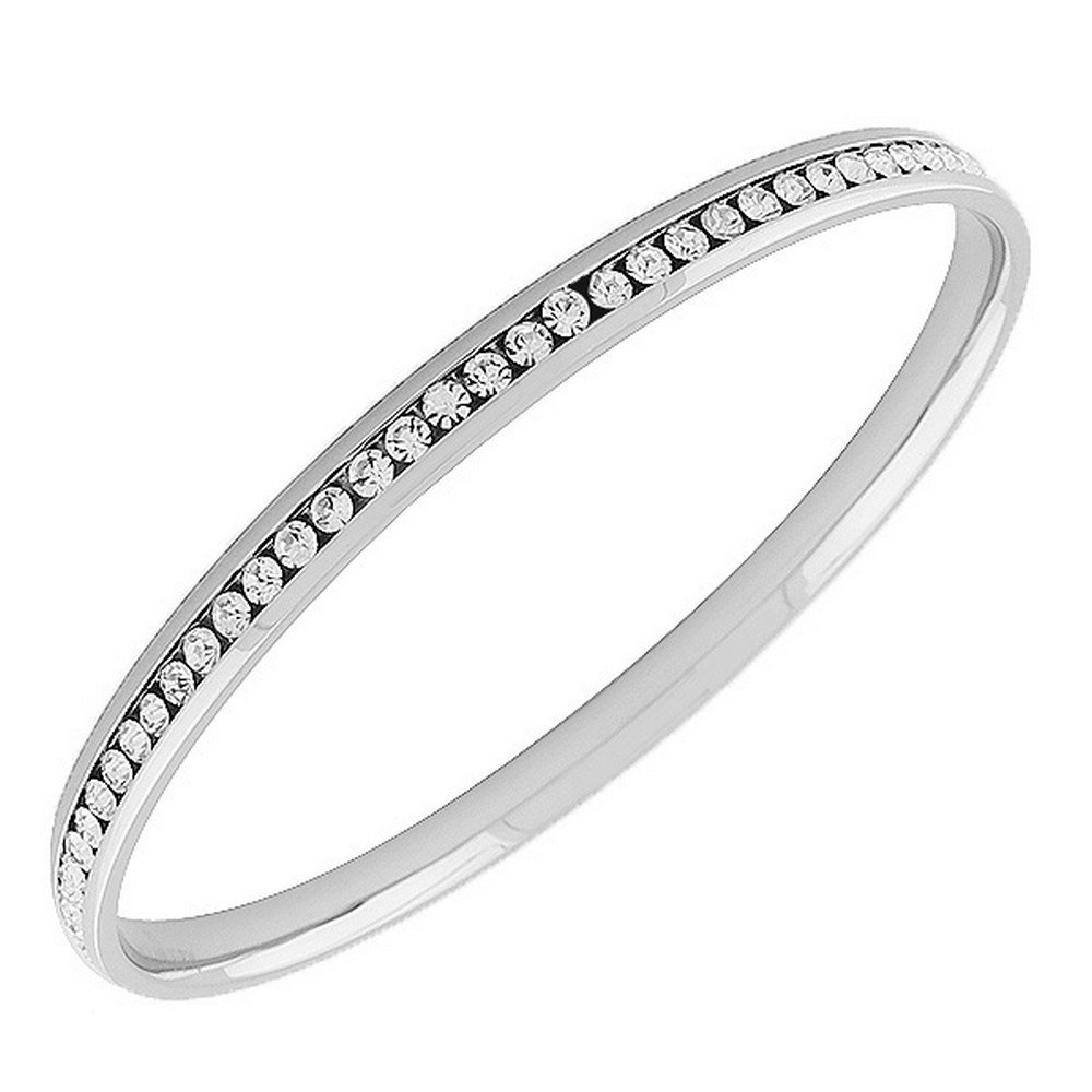 My Daily Styles Stainless Steel Silver-Tone White CZ Bangle Bracelet, 8''