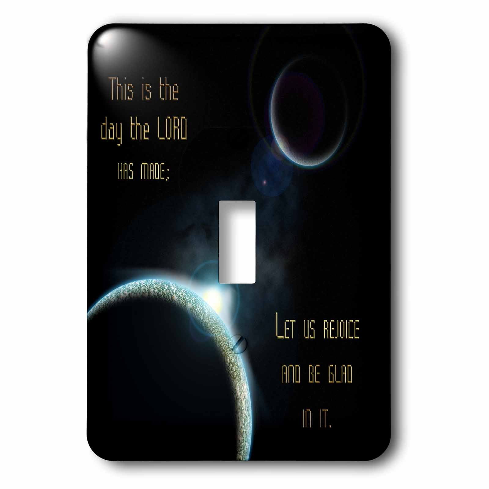 777images Space Fantasy - A sun announcing a new dawn over a solar system with the bible verse psalm 118 verse 24 - Light Switch Covers - single toggle switch (lsp_99100_1)